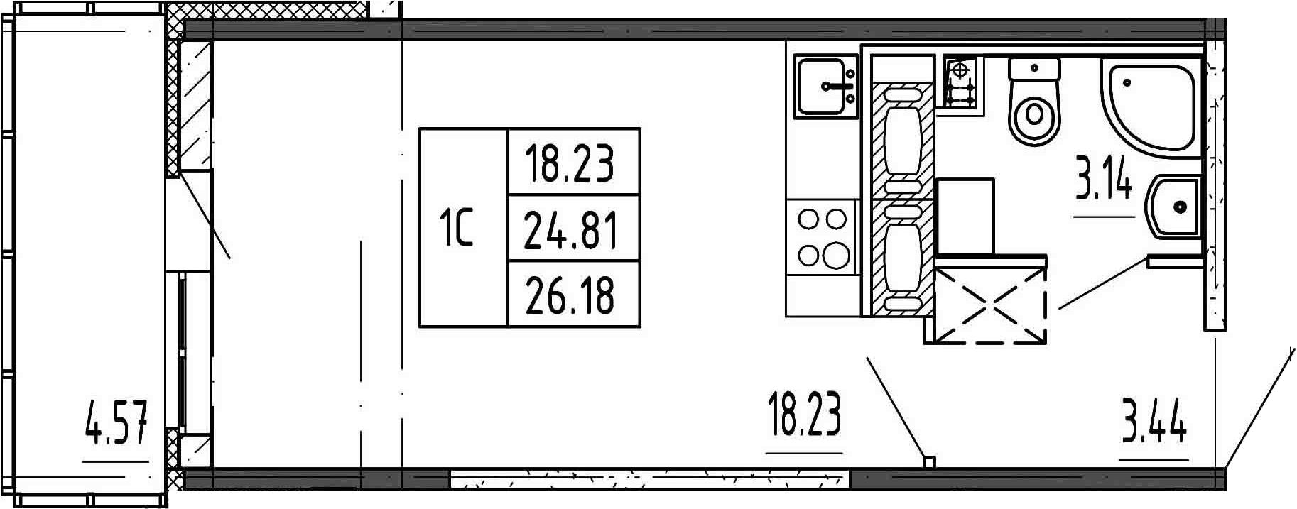 Студия, 24.81 м²