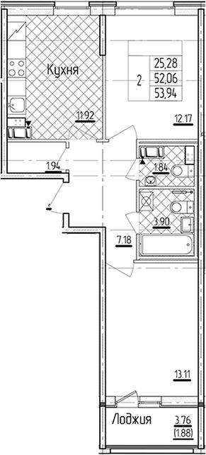 2-к.кв, 53.94 м²