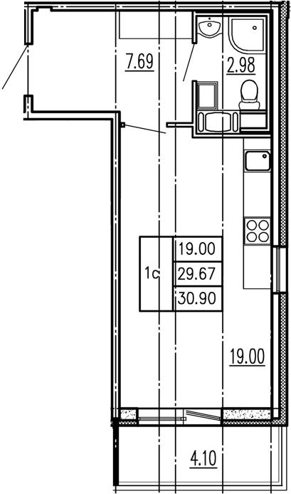 Студия, 29.67 м², 5 этаж – Планировка