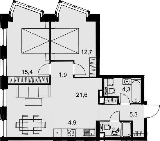 3Е-к.кв, 68.5 м², 3 этаж
