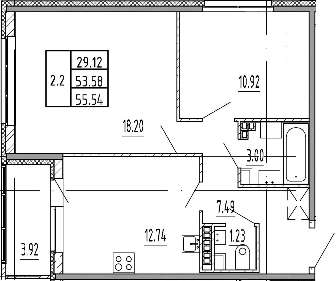 2-комнатная, 53.58 м²– 2