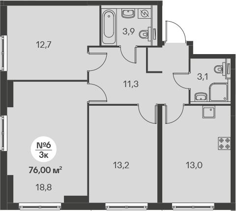 3-к.кв, 76 м²