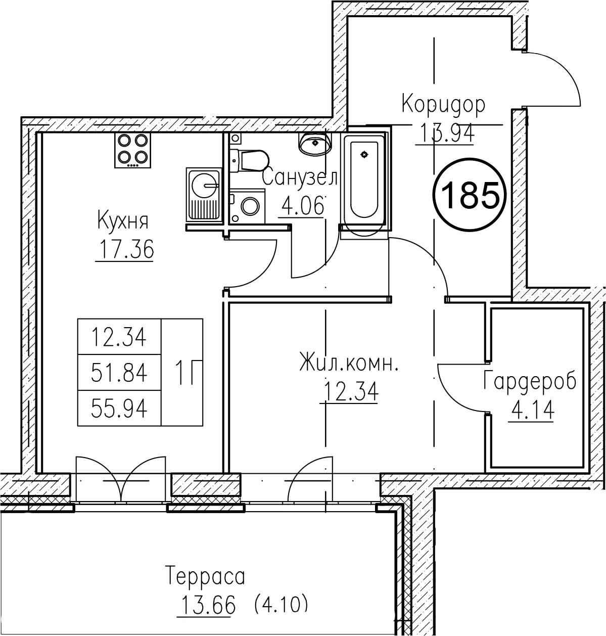 1-к.кв, 65.51 м²