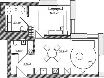 2Е-комнатная, 50.4 м²– 2