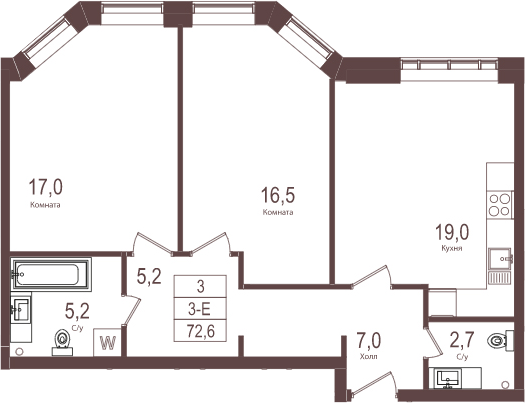 3-к.кв (евро), 72.6 м²