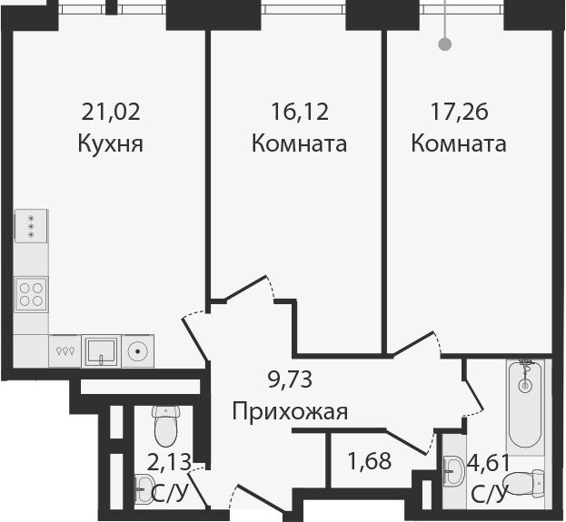 3Е-комнатная, 72.55 м²– 2