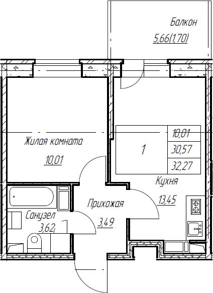 2Е-к.кв, 32.27 м², от 4 этажа