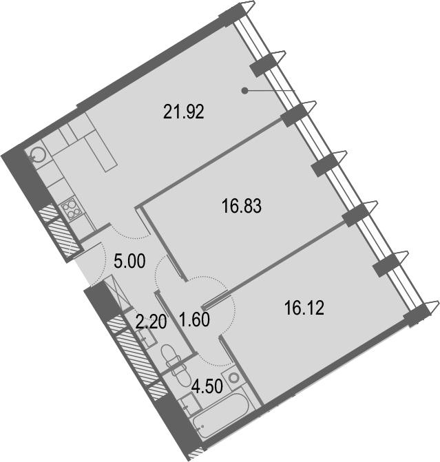 3Е-комнатная, 68.17 м²– 2