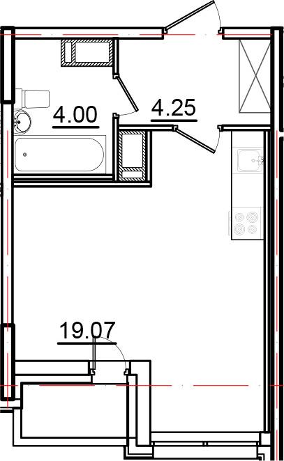 Студия, 28.29 м², 10 этаж