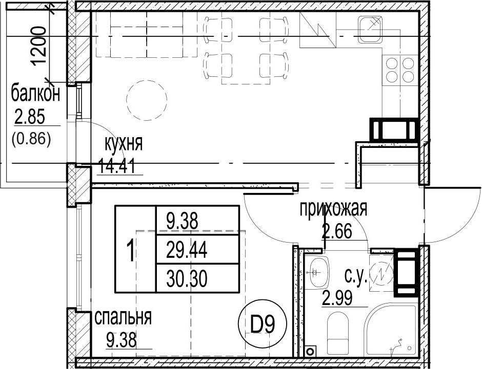 1-комнатная, 30.3 м²– 2