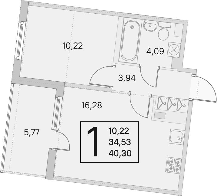 2Е-к.кв, 34.53 м², 4 этаж