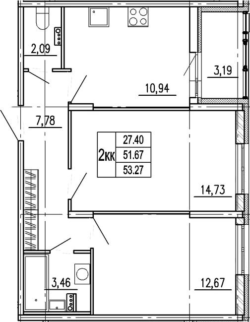 2-комнатная, 51.67 м²– 2