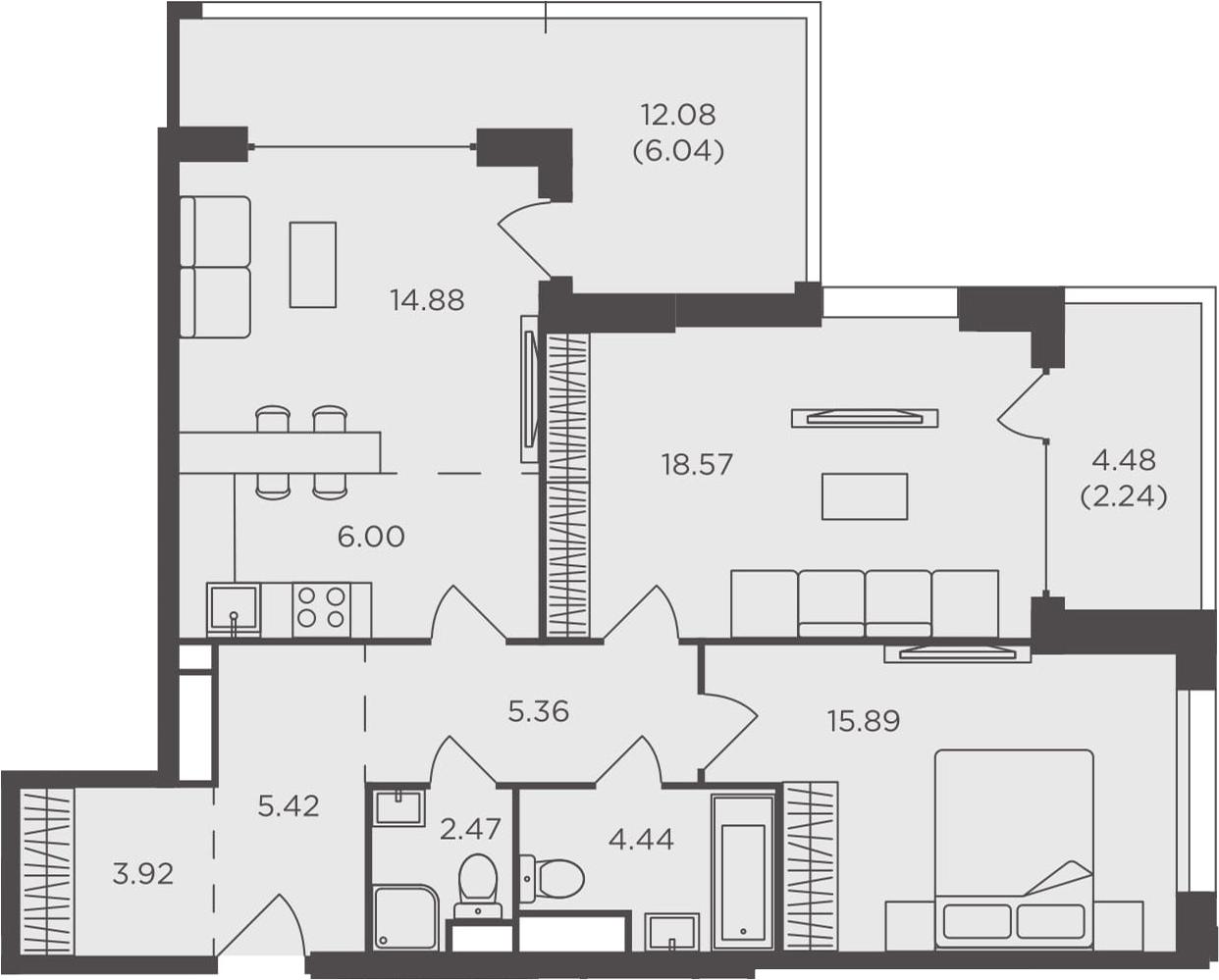 3Е-к.кв, 85.23 м²