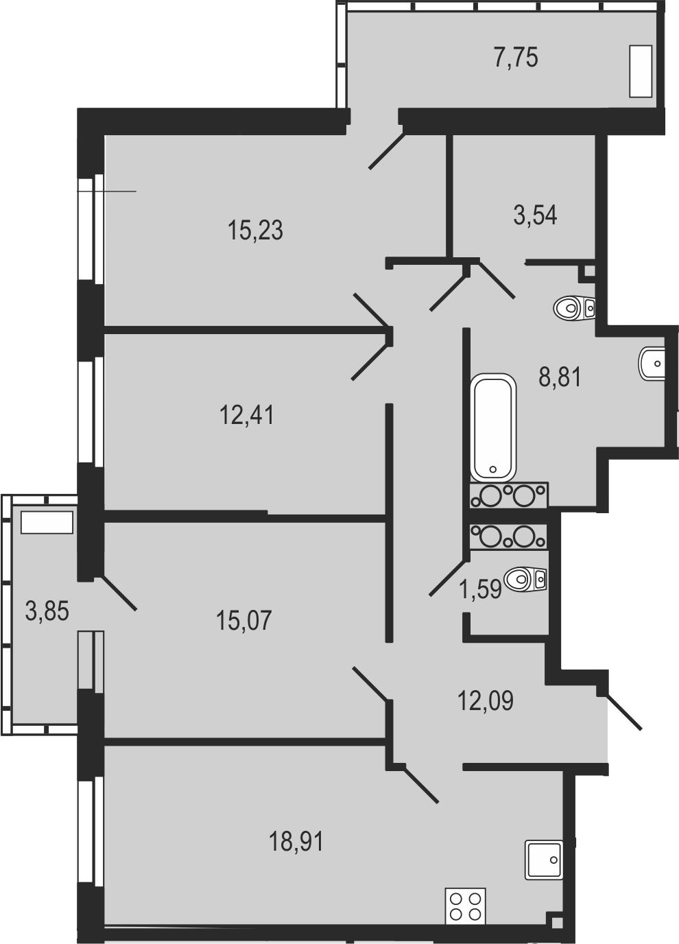 4-к.кв (евро), 99.25 м²