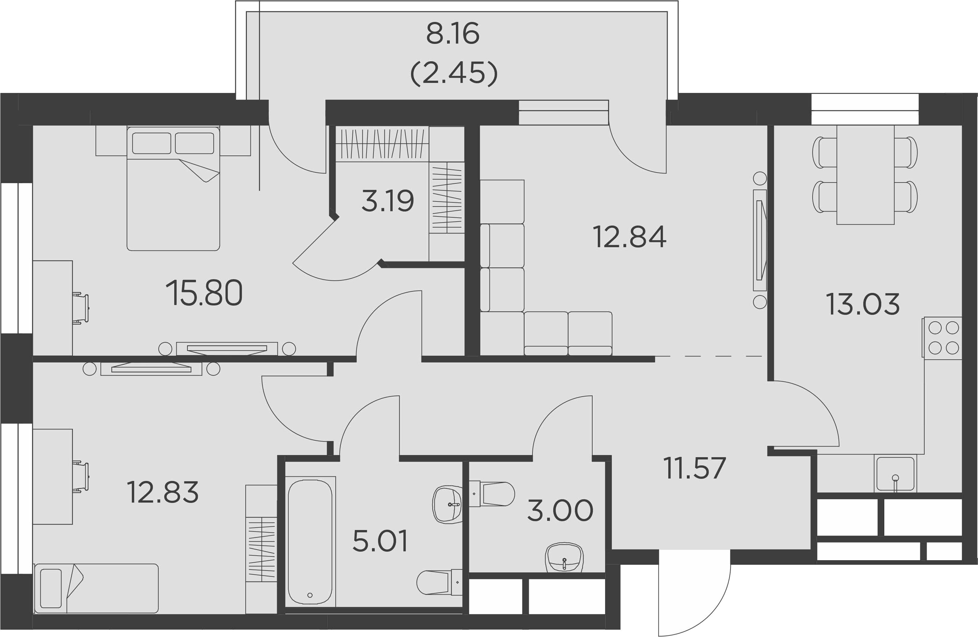 3-к.кв, 85.44 м²