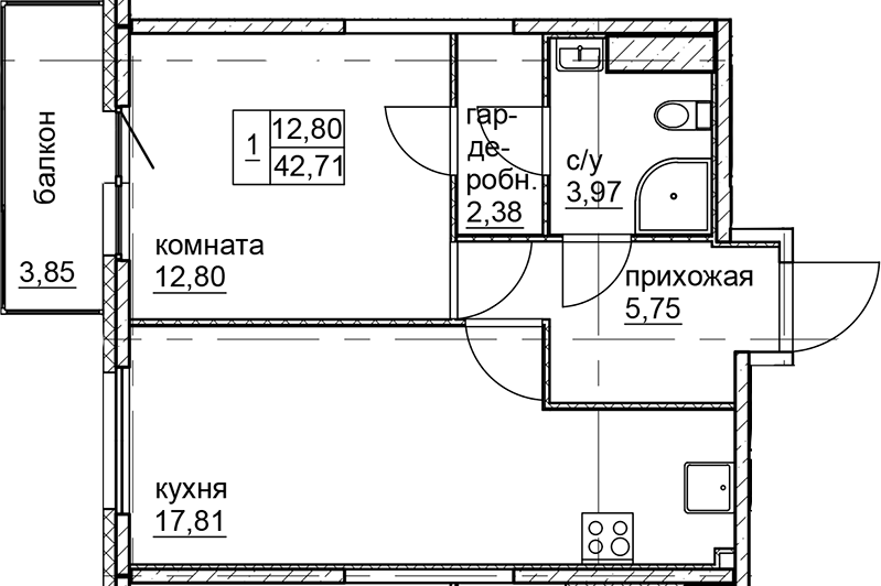 2Е-к.кв, 42.71 м²