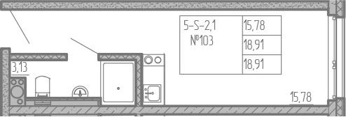 Студия, 18.91 м², от 11 этажа