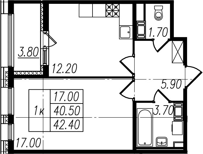 1-к.кв, 40.5 м², 7 этаж
