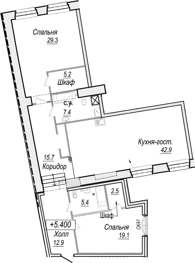 3-к.кв (евро), 140.4 м²