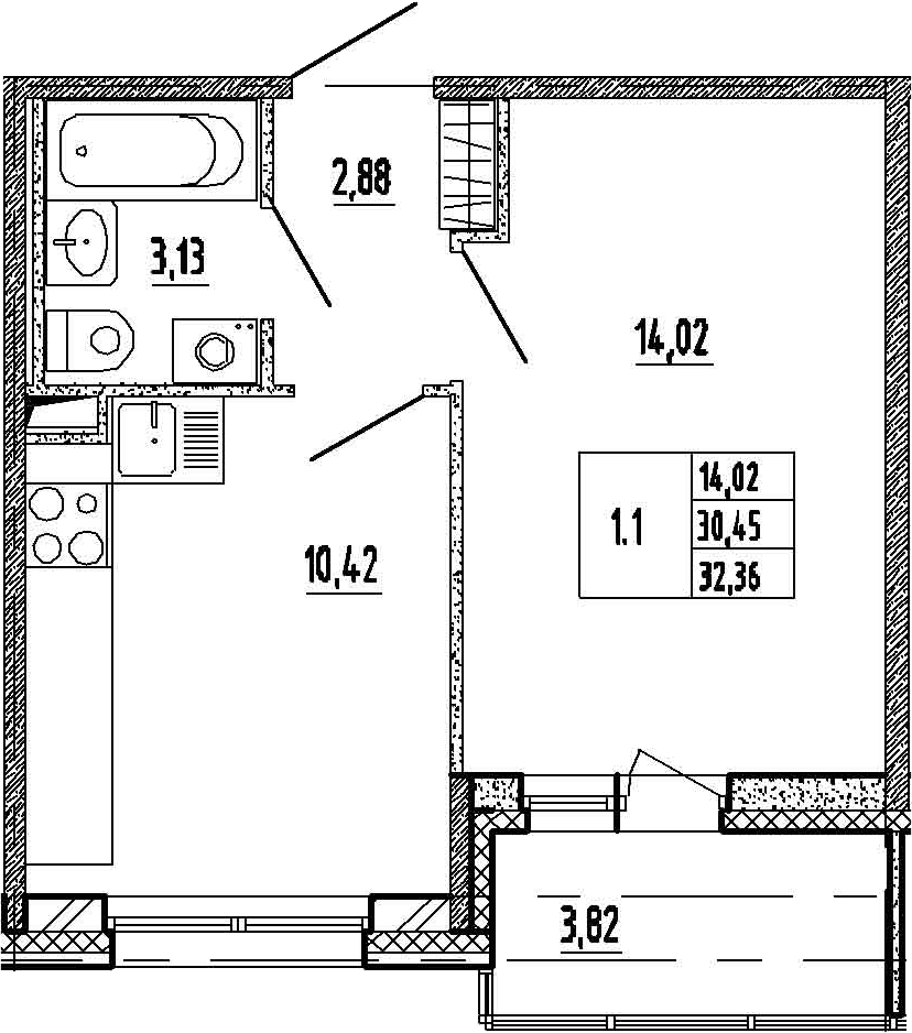 1-к.кв, 34.27 м²