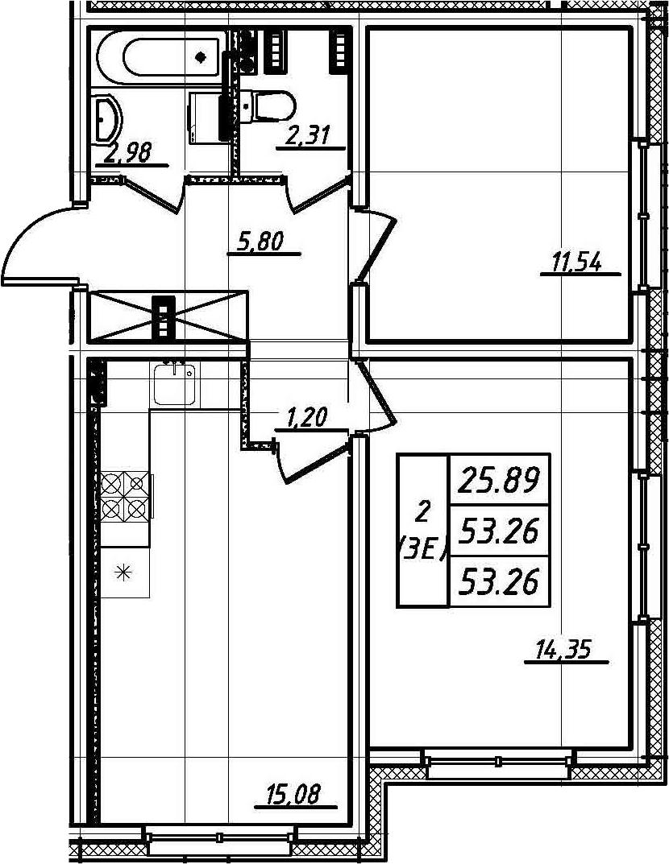 3Е-комнатная, 53.26 м²– 2