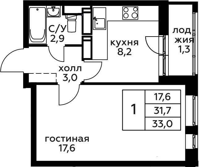 1-к.кв, 33 м², 9 этаж