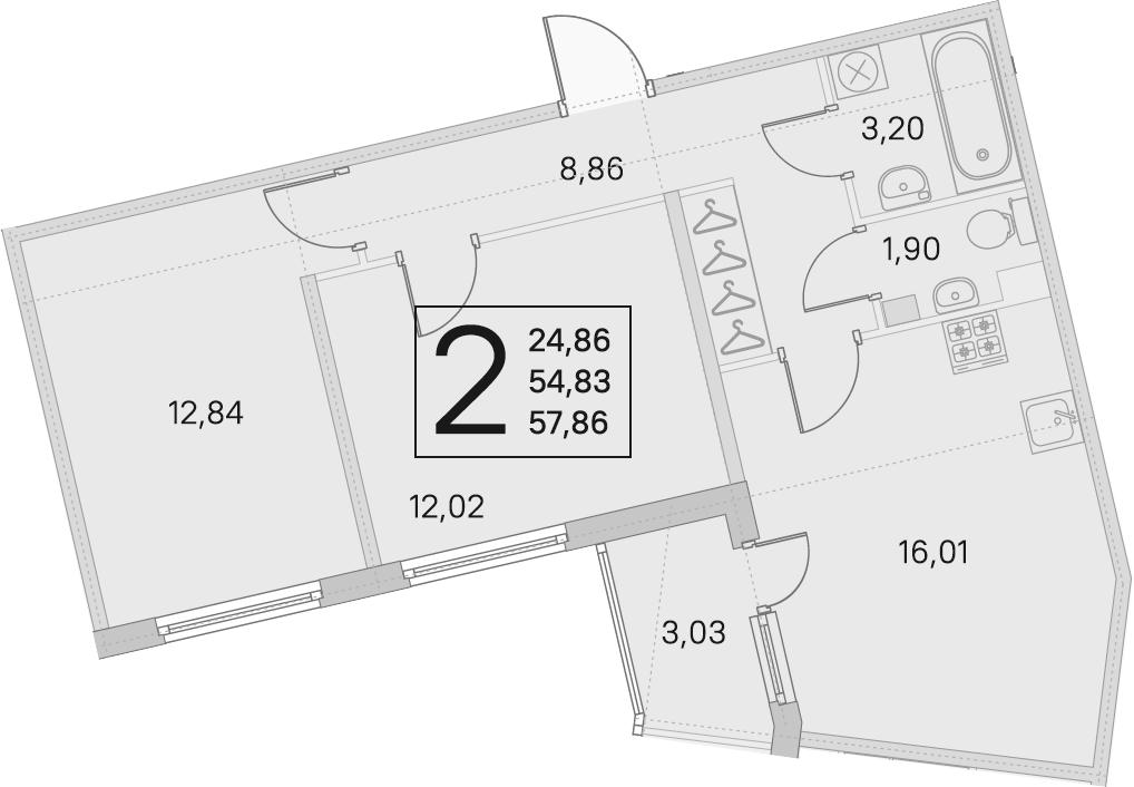 3Е-к.кв, 54.83 м², 2 этаж
