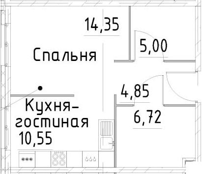 1-к.кв, 41.47 м²
