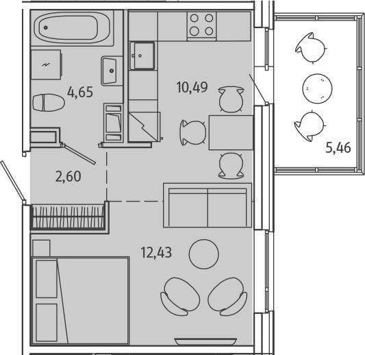 Студия, 35.62 м²