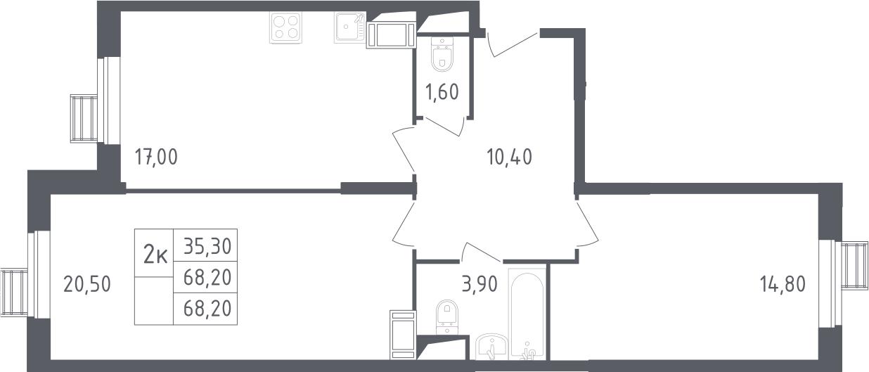 3-к.кв (евро), 68.2 м²
