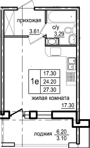 Студия, 27.3 м², 4 этаж – Планировка