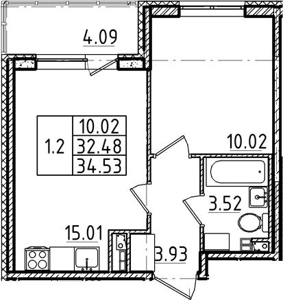 2Е-комнатная, 32.48 м²– 2