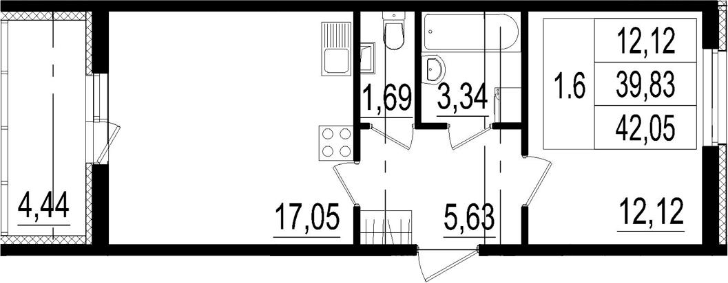 2Е-к.кв, 39.83 м²