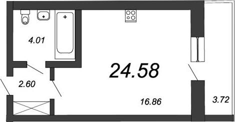Студия, 27.18 м²