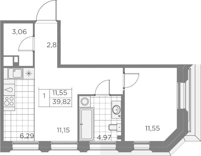 2Е-к.кв, 39.82 м², 3 этаж