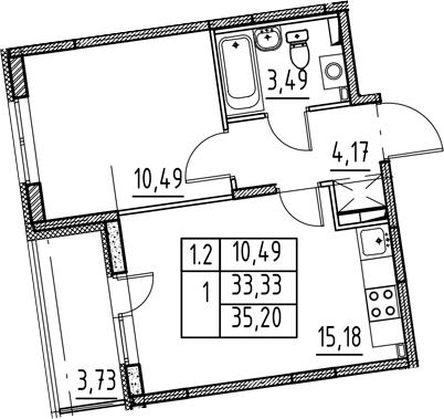 2-к.кв (евро), 37.06 м²