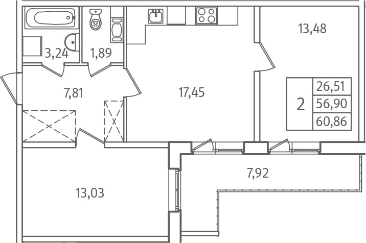 3Е-к.кв, 60.86 м², 1 этаж