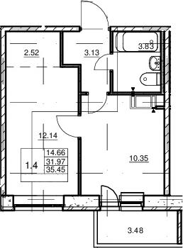 1-к.кв, 31.97 м²