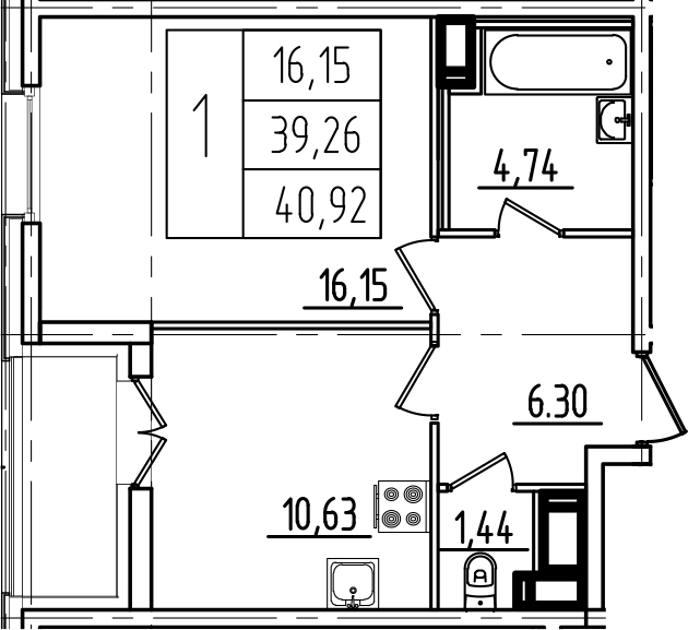 1-комнатная, 40.92 м²– 2
