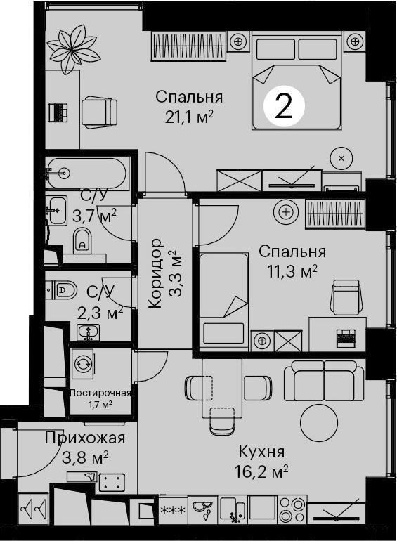 3Е-комнатная, 63.4 м²– 2