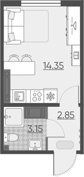 Студия, 20.35 м²– 2