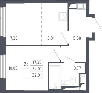 2Е-к.кв, 32.01 м², 8 этаж