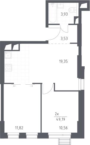 3Е-комнатная, 49.19 м²– 2