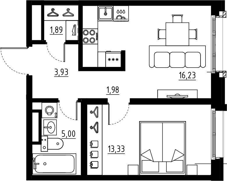 2Е-комнатная, 42.36 м²– 2