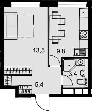 1-к.кв, 32.1 м², 32 этаж