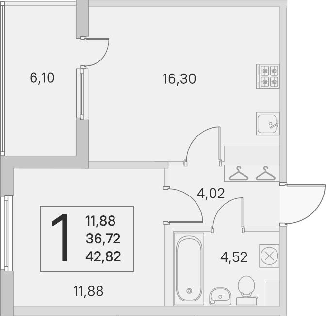2Е-комнатная, 36.72 м²– 2