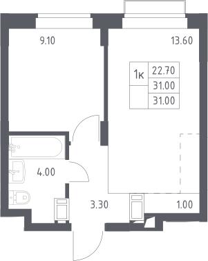1-к.кв, 31 м², 12 этаж