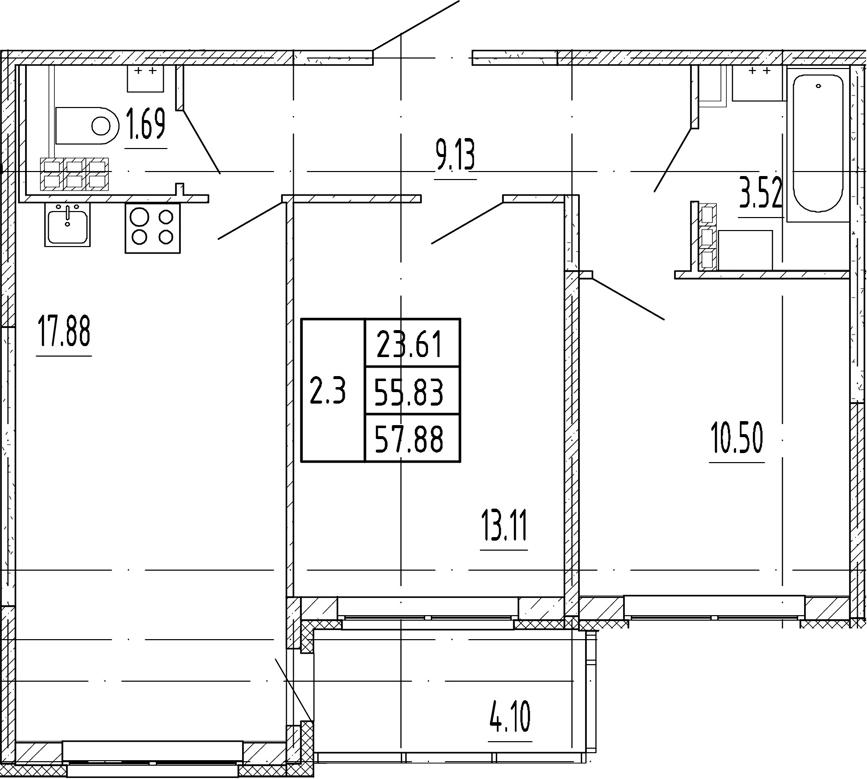 3Е-комнатная, 55.83 м²– 2