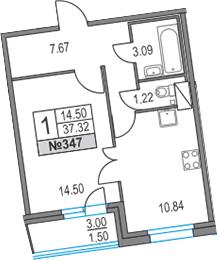 1-к.кв, 37.32 м², 16 этаж