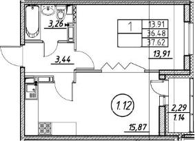 2Е-к.кв, 37.62 м²